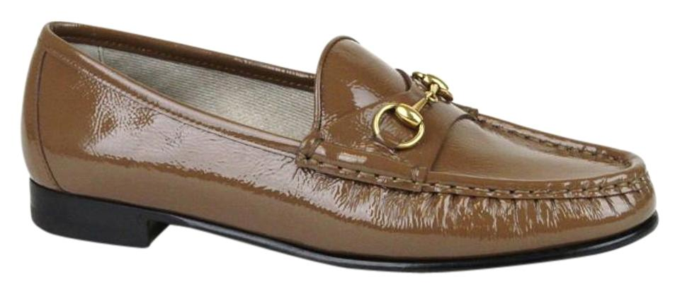 34b722412 Gucci Brown Horsebit Womens 1953 Loafer Moccasins Patent 34/4 318394 2527  Flats