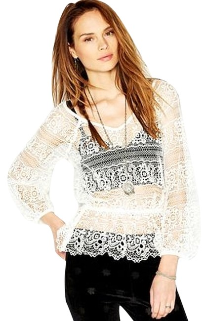 Free People Saturdays Lace Stunning Stand-out Top Ivory