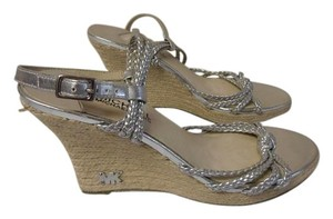 Michael Kors Designer Heel Rubber Sole silver Wedges