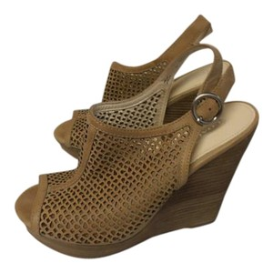 Coach Designer Wedge Leather tan Wedges