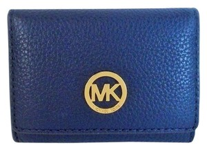 Michael Kors Michael Kors Fulton Pebbled Leather Snap Card Case Wallet NWT Navy