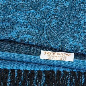 SALE~!! BRAND NEW CASHMERE/SILK TWO TONED PRINT ON BOTH SIDES! TURQUOISE BLUE AND BLACK PAISLEY PASHMINA SCARF W/ FRINGE BOTTOM!