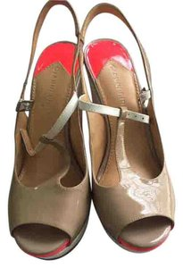 Gianni Bini Taupe and bright coral Wedges