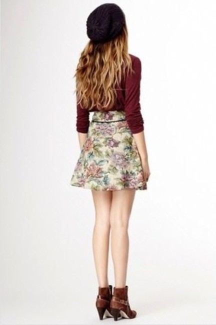Free People Carpet Bag Circle Multi Color Tapestry Patterned Mini Skirt