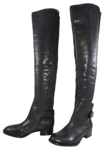 Tory Burch Leather Stretchy Logo Black Boots