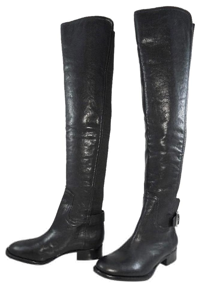 Tory Burch Black Riding Jack Over The Knee 50/50 Stretch Riding Black Flat Boots/Booties 6cad7d