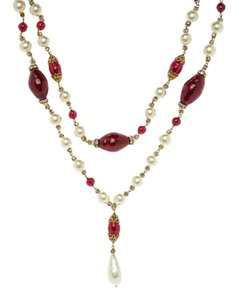 Chanel Chanel Vintage Red Gripoix Pearl Drop Necklace