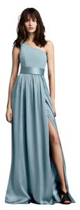 Vera Wang Periwinkle/Mist Matte Charmeuse Skirt with Satin Sash One Shoulder Formal Bridesmaid/Mob Dress Size 12 (L)