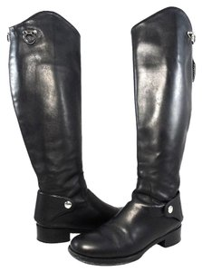Salvatore Ferragamo Boot Leather Logo Scalloped Black Boots