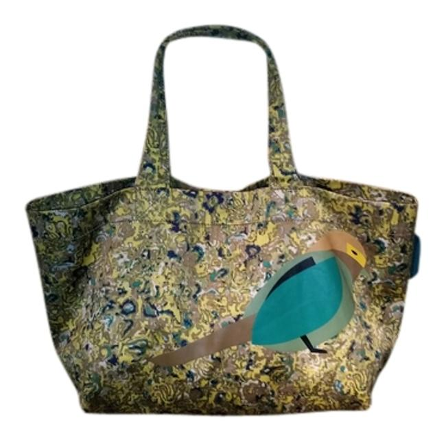 Item - Yellow/Green/Taupe Canvas Tote
