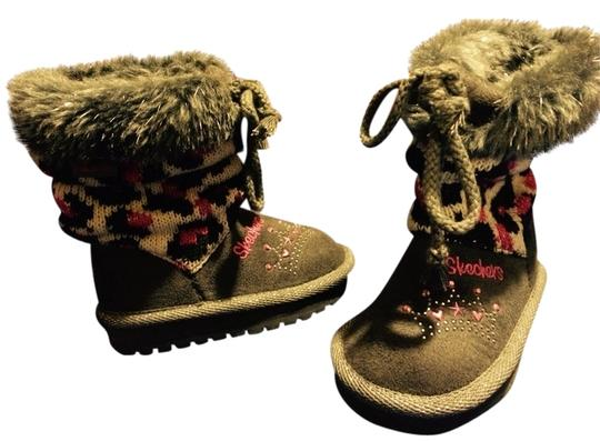 Skechers Gray/ Animal Print Boots
