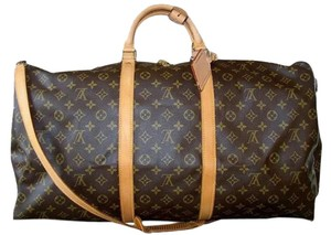 Louis Vuitton Keepall 60 Bandouliere M41412 Duffle Brown Travel Bag