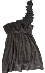 Hollister One Shoulder Flowy Top Dark Brown