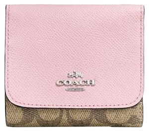 Coach COACH SIGNATURE WALLET IN KHAKI, PETAL, SILVER COLORBLOCK NO. 53762
