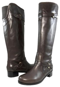 Claudia Ciuti Leather Elastic Ankle Strap Round Toe Brown Boots