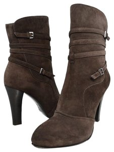 Bruno Magli Suede Boot Ankle Strap Brown Boots