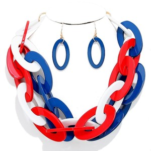 American Flag Style Chain Necklace and Earring Set