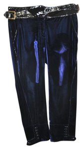 Roberto Cavalli Patent Leather Velvet Capris Royal Blue