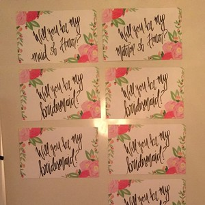 White Pink Green Black Wedding Will You Be My... Cards