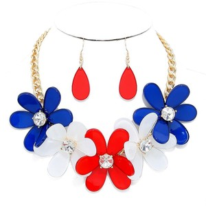 Other American Flag Flower Necklace and Earring Set