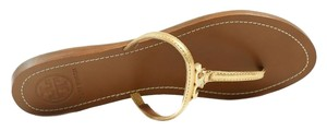Tory Burch Thong Leather Logo Gold Sandals