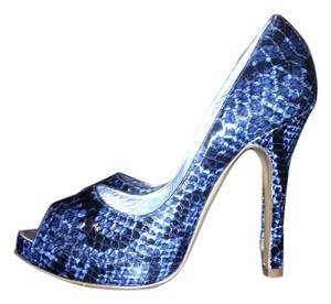 Luciano Padovan alligator blue 38.5 Pumps