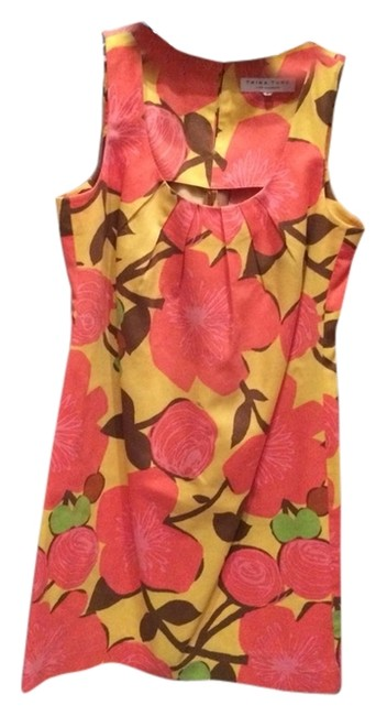 Trina Turk short dress Yellow Background With Pinky/coral Flowers And Brown/green Leaves/stems on Tradesy