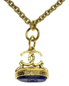 Chanel Chanel Vintage Gold Blue Gripoix CC Logo Necklace