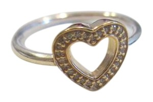 PANDORA new Pandora Symbol of Love Heart Ring CZ 14K & ss 190925CZ Size 6.5