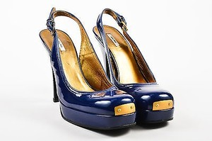 Miu Miu Navy Patent Blue Pumps