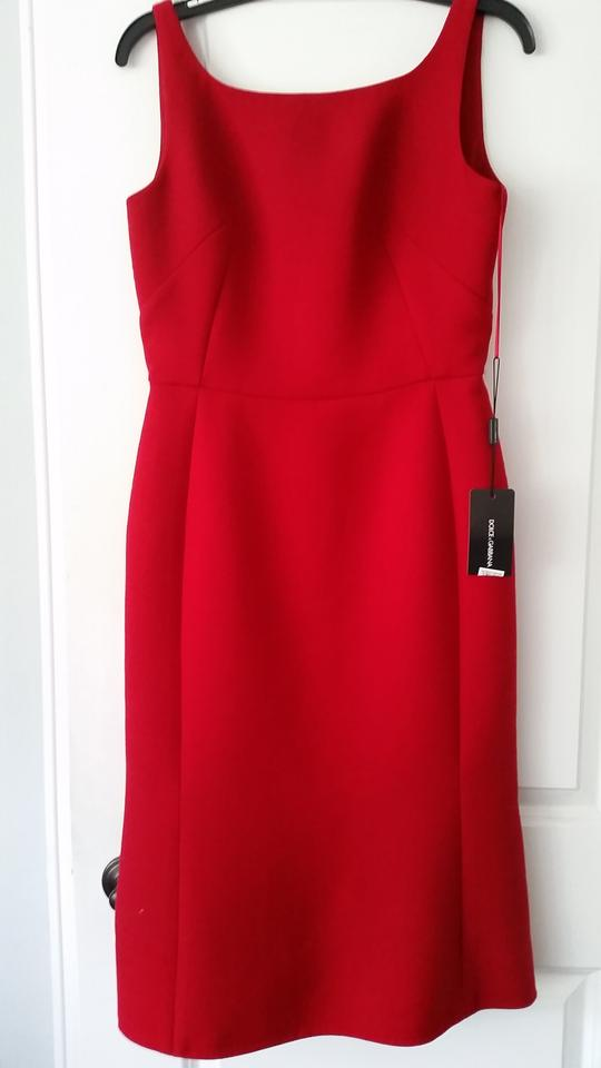 amp;Gabbana Flair Red Work Fitted Office Hem Dress Dolce SqdPw4d