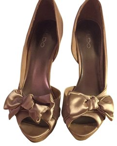 ALDO Satin Bow Peep Toe Platform Natural Formal