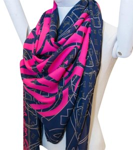 Louis Vuitton Louis Vuitton Silk Scarf Shawl Navy Blue/Purple Fuchsia