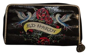 Ed Hardy ED HARDY Wallet Zip Around Blue Birds & Roses