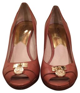 MICHAEL Michael Kors Beige and Gold and Wood Wedges