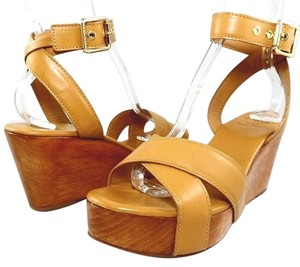 Tory Burch Leather Crisscross Strap Ankle Strap Sandal Natural Tan Platforms