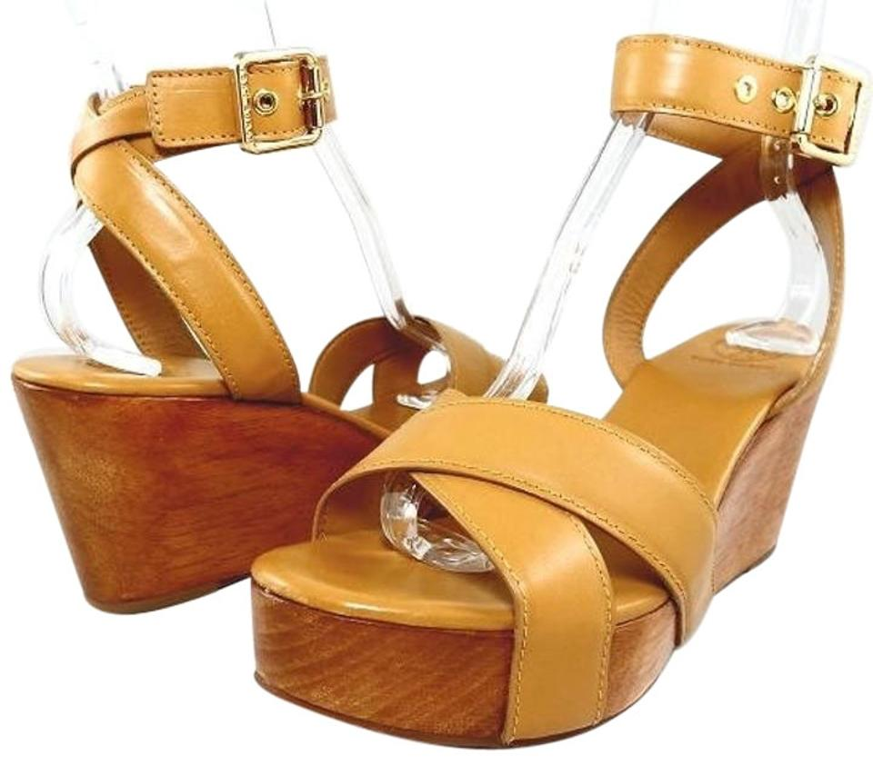 6305c4a3c14 Tory Burch Leather Crisscross Strap Ankle Strap Sandal Natural Tan  Platforms Image 0 ...