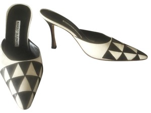 Manolo Blahnik Black and White Mules