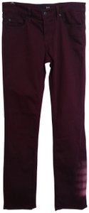 David Kahn Burgundy Designer Skinny Jeans-Coated