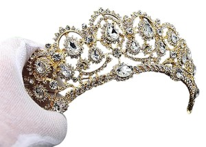 Gold Crystal Crown Tiara