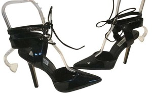 Frederick's of Hollywood Stilettos Ankle Ties Black patent Pumps