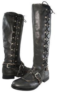 J. Litvack Leather Metallic Hardware Pebbled Crisscross Strap Grey Boots