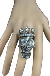 Other Women Skull King Crown Ring Pewter Rhinestones Elastic Band