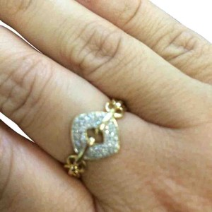 14 k solid gold ring with diamonds