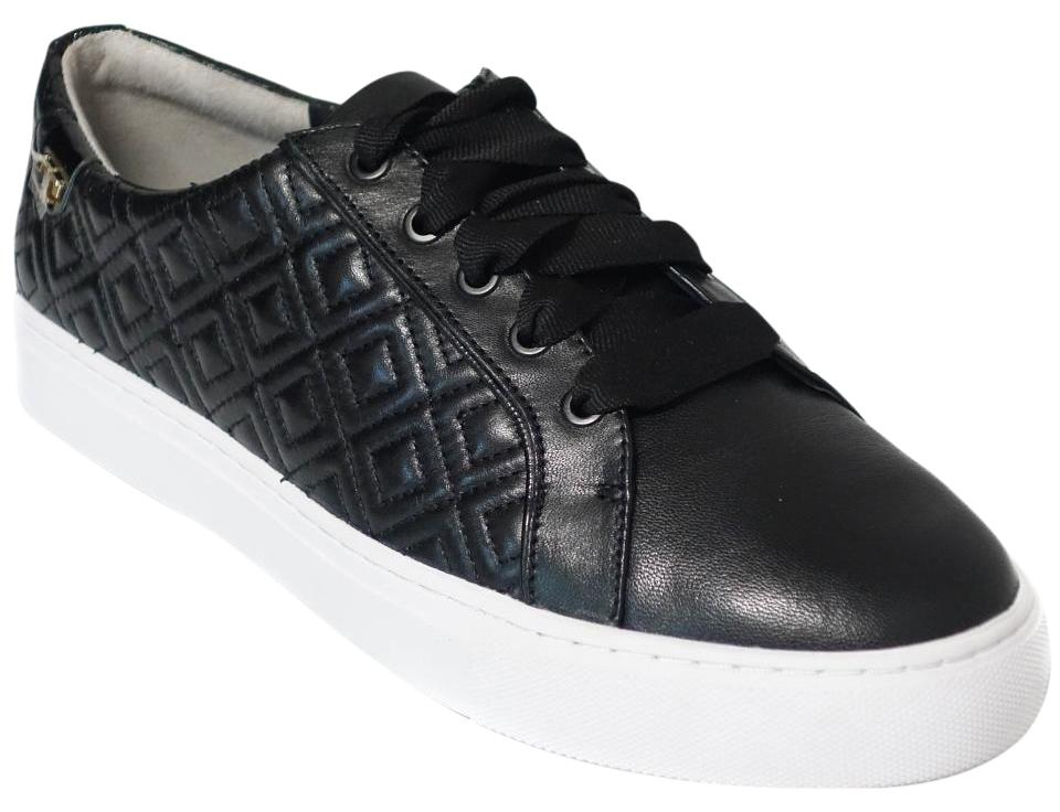 e61a1ad979884a Tory Burch Black Marion Quilted Lace-up Leather Sneaker Us9 Sneakers ...