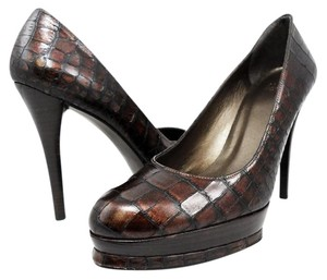 Stuart Weitzman Platform Stiletto Crocodile Leather Brown Pumps