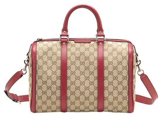 Gucci Classic Boston Canvos Satchel in Red
