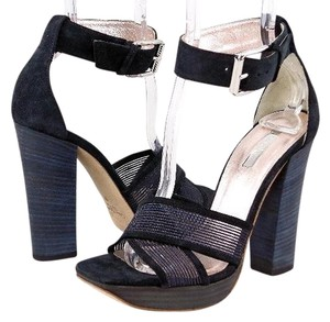 Calvin Klein Collection Platform Ankle Strap Suede Mesh Black Sandals