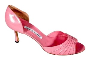 Manolo Blahnik Open Toe Leather Sexy Like New D'orsay Pink Pumps