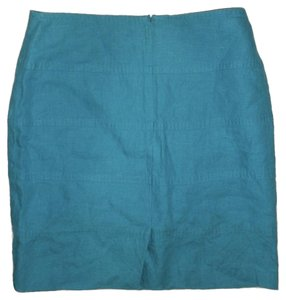 Banana Republic Linen Turquoise Zipper Skirt